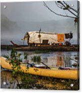 Batteau And Canoe In Fog At Galt's Mill 1708 Acrylic Print