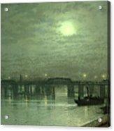 Battersea Bridge By Moonlight Acrylic Print by John Atkinson Grimshaw