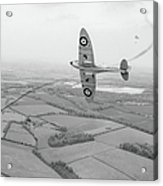 Battle Of Britain Spitfire Black And White Version Acrylic Print
