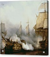 Battle Of Trafalgar Acrylic Print by Louis Philippe Crepin