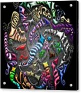 Battling Kites -- Black Acrylic Print