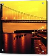 Bay Bridge Black And Orange Acrylic Print