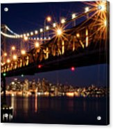 Bay Bridge In Front Of San Francisco Skyline Acrylic Print by Blue Hour Photography