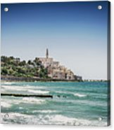 Beach By Jaffa Yafo Old Town Area Of Tel Aviv Israel Acrylic Print