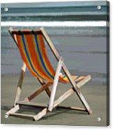 Beach Chair And Ocean Stripes Acrylic Print