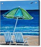 Beach Chair Bliss Acrylic Print by Elizabeth Robinette Tyndall
