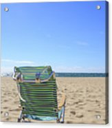 Beach Chair On A Sandy Beach Acrylic Print