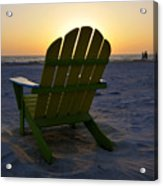 Beach Chair Sunset Acrylic Print