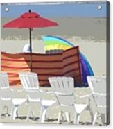 Beach Chairs Acrylic Print by Lori Seaman