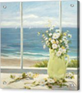 Beach Daisies In Yellow Vase Acrylic Print