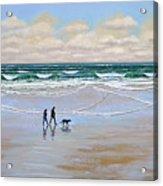 Beach Dog Walk Acrylic Print by Frank Wilson