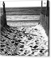 Beach Entry Black And White Acrylic Print
