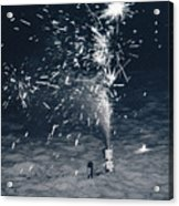 Beach Fire Works Acrylic Print