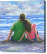 Beach Lovers Pink And Green Acrylic Print