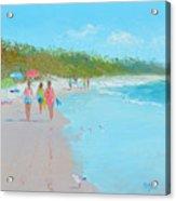 Beach Painting 'beach Strolling' By Jan Matson Acrylic Print