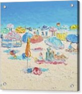 Beach Painting - Crowded Beach Acrylic Print