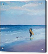 Beach Painting - The Lone Surfer Acrylic Print