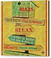 Beach Rules  Acrylic Print