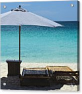 Beach Scene With Lounger And Umbrella Acrylic Print by Paul W Sharpe Aka Wizard of Wonders