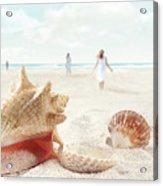 Beach Scene With People Walking And Seashells Acrylic Print