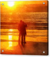 Beach Sunrise Love Acrylic Print