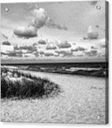 Beach Sunset Bw Acrylic Print