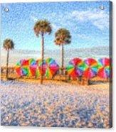 Beach Umbrella Lineup Acrylic Print by Michael Garyet