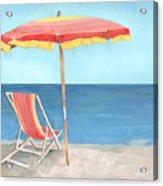 Beach Umbrella Of Stripes Acrylic Print