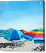 Beach Umbrellas Acrylic Print by Glenda Zuckerman