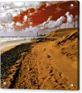 Beach Under A Blood Red Sky Acrylic Print