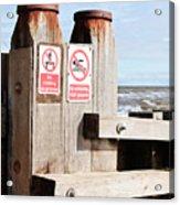 Beach Warning Acrylic Print