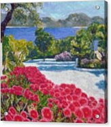 Beach With Flowers Acrylic Print