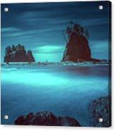 Beach With Sea Stacks In Moody Lighting Acrylic Print