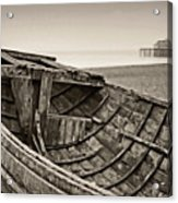 Beached At Brighton In Sepia Acrylic Print