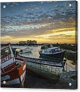 Beached Boats On Trocadero Pipe Puerto Real Cadiz Spain Acrylic Print