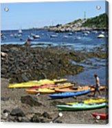 Beached Kayaks At Rockport Harbor Acrylic Print