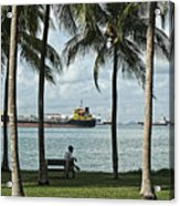 Beachfront Park With Freighters, Singapore 2014 Acrylic Print