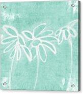 Beachglass And White Flowers 3- Art By Linda Woods Acrylic Print