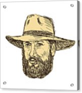 Bearded Cowboy Head Drawing Acrylic Print
