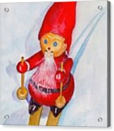 Bearded Elf On Skis Acrylic Print