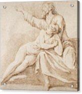 Bearded Man Embracing A Young Woman Acrylic Print