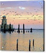 Beau Rivage Marina And Lighthouse Acrylic Print