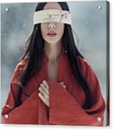 Beautiful Asian Woman With Red Sensual Lips Standing In The Snow Acrylic Print