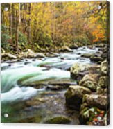 Beautiful Autumn Colors Little Pigeon River Smoky Mountains Acrylic Print