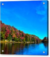 Beautiful Autumn Reflections On Bald Mountain Pond Acrylic Print