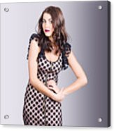 Beautiful Brunette Girl Wearing Retro Zipper Dress Acrylic Print