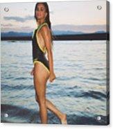 Beautiful Brunette On The Beach Acrylic Print