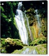 Beautiful Cascades Of Mele Falls Surrounded By Lush Foliage Acrylic Print
