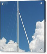 Beautiful Day At The Marina - Mast And Clouds - Color Acrylic Print