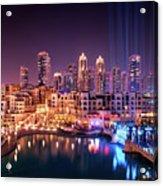 Beautiful Famous Downtown Area In Dubai At Night, Dubai, United Arab Emirates Acrylic Print